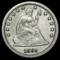 1891 S SEATED LIBERTY SILVER QUARTER U.S. COIN  LOT S3226