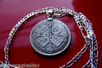 REAL ANTIQUE SILVER ENGLISH FLORIN .925 STERLING SILVER CHAIN. YOU CHOSE LENGTH