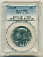 1971 D KENNEDY HALF DOLLAR 50 CENTS DOUBLE DIE OBVERSE FS 102 MS64 PCGS