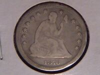 1876 CC SEATED LIBERTY QUARTER NO ARROWS WITH MOTTO