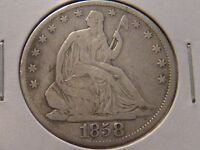 1858 SEATED LIBERTY HALF DOLLAR NO ARROWS NO MOTTO