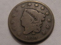 1829 CORONET HEAD LARGE CENT   MEDIUM LETTERS