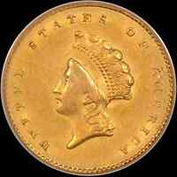 1855 $1 PCGS AU58 GOLD DOLLAR TYPE 2   DEEP LUSTER WITH A GOOD STRIKE.