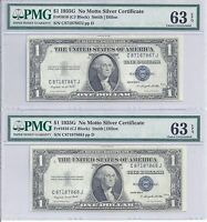 FR 1616   2 SILVER CERTIFICATES   CONSECUTIVE SERIAL NUMBERS   CHOICE UNC