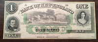 1800'S $1 BANK OF NEW ENGLAND STATE OF CONNECTICUT OBSOLETE NOTE