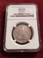 1869  S SEATED LIBERTY HALF NGC GRADED AU DETAILS  SEE SCAN & AD DETAILS