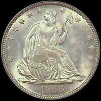 1866 50C LIBERTY SEATED HALF PCGS MS63 CAC   VIBRANT TYPE COIN