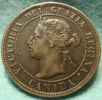 1897 XF AU HIGH GRADE CANADA LARGE CENT VICTORIA COIN NO RES CANADIAN