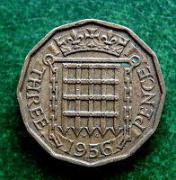 1956 UK GREAT BRITAIN THREE PENCE COIN  SB1741