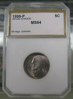 1999 P BROAD STRUCK JEFFERSON NICKEL ERROR COIN MINT STATE UNCIRCULATED