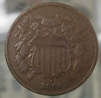 1869 TWO CENT COIN  FINE