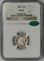 1882 NICKEL THREE CENT PIECE 3CN PROOF PF 67 NGC CAC APPROVED