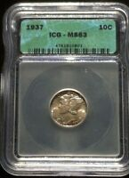 1937 10 MERCURY DIME GRADED BY ICG  AS MS 63 GREAT DETAIL AND LUSTER