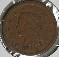 1849 BRAIDED HAIR LARGE CENT   VG CONDITION COIN   SMALL OBVERSE RIM DENT