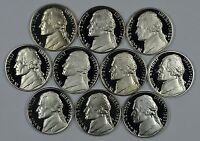 1980   1989 S SET OF JEFFERSON PROOF NICKELS  10 COINS TOTAL  SHIPS FOR FREE