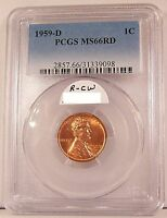 CERTIFIED 1959 D LINCOLN MEMORIAL CENT IN PCGS MS66RD MS 66 RED