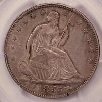 1855/54 OVERDATE SEATED LIBERTY HALF DOLLAR PCGS AU50 WB 102 TOUGH DATE