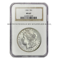 1886 $1 MORGAN NGC MS67 PHILADELPHIA SILVER DOLLAR GEM GRADED INVESTMENT COIN
