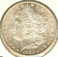 1880 S CHOICE MS BU UNCIRCULATED MORGAN SILVER DOLLAR MINT LUSTER GOLD TONING