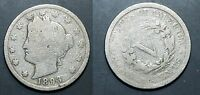 1893  U.S. LIBERTY  NICKEL - SOLID AG/GOOD LIGHT HAIRLINE   STK1F24