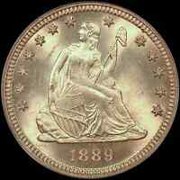 1889 LIBERTY SEATED QUARTER 25C PCGS MS65 OGH   VIBRANT TYPE COIN