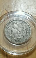 1876 NICKEL THREE  CENT   EXTRA  FINE OR BETTER