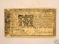 FINE 241 YR OLD COLONIAL CURRENCY $2/9 DOLLARS 1774 MARYLAND  NOTE