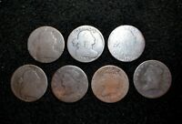1801 1803 1805 1807 1808 1809 1810 LARGE CENTS SEVEN COIN LOT