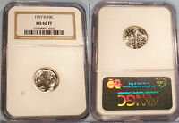 1957 D NGC MS66FT ROOSEVELT DIME 10C  MS 66 FT FULL TORCH