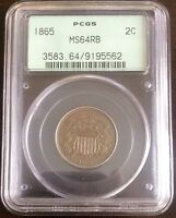 1865 TWO CENT PIECE PCGS MINT STATE 64RB