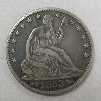 1853 O LIBERTY SEATED HALF DOLLAR FINE DETAILS