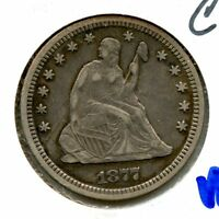 1877 CC SEATED LIBERTY SILVER QUARTER VF SCRATCHED  HUCKY