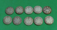 1921 1928 1929 1930 1931 1932 1933 1934 1935 1936 CANADA 25 CENTS LOT OF 10 COIN