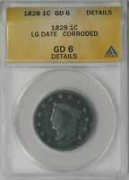 1828 LG DATE LIBERTY HEAD MATRON HEAD LARGE CENT 1C GD 6 DETAILS ANACS