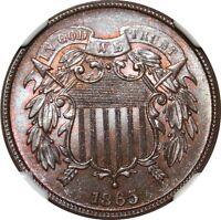 1865 2 CENT NGC MINT STATE 66BN STAR   ATTRACTIVE TWO CENT PIECE
