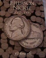 1962 TO 1995 COMPLETE JEFFERSON NICKEL SET IN HARRIS FOLDER 65 TOTAL COINS