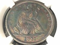 1842 SEATED HALF DOLLAR MEDIUM DATE REPUNCHED DATE NGC CERTIFIED AU DETAILS