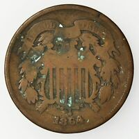 1864 TWO CENT PIECE CIRCULATED COPPER COIN [1795.62]