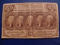 1862 JEFFERSON 25 CENT FRACTIONAL POSTAL CURRENCY US PAPER MONEY
