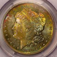 1880 S MORGAN SILVER DOLLAR PCGS MS64 VIBRANT RAINBOW TONING