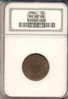 1864 TWO CENT PIECE  NGC CERTIFIED MINT STATE 65 RED & BROWN   TYPE COIN