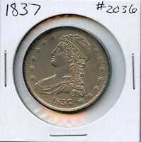 1837 50C CAPPED BUST HALF DOLLAR. ALMOST UNCIRCULATED. LOT1729