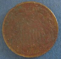 1865 TWO CENT PIECE, GOOD DETAILS