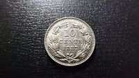 1 YEAR TYPE 1887 NICARAGUA SILVER 10 CENTAVOS STRONG DETAIL HIGH QUALITY