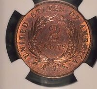 1865 TWO CENT PIECE 2C MINT STATE 65 NGC RB: FROM THE HILT COLLECTION, SUPERIOR DETAIL