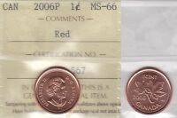 2006P ICCS MS66 1 CENT RED MAGNETIC CANADA ONE PENNY