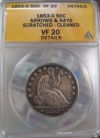 1853 O ARROWS/RAYS LIBERTY SEATED HALF DOLLAR 50C ANACS VF20 DETAILS