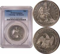 1858 O LIBERTY SEATED HALF DOLLAR  PCGS XF DETAILS  UNDERGRADED COIN