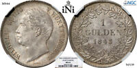 INI  GERMANY WURTTEMBERG GULDEN 1843 TOP POP NGC MS 64