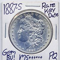 1887-S MORGAN DOLLAR  KEY DATE US MINT GEM PQ SILVER COIN BU UNC MS